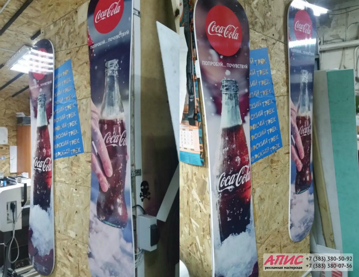 печать на самоклейке и накатка на пластик реклама coca cola