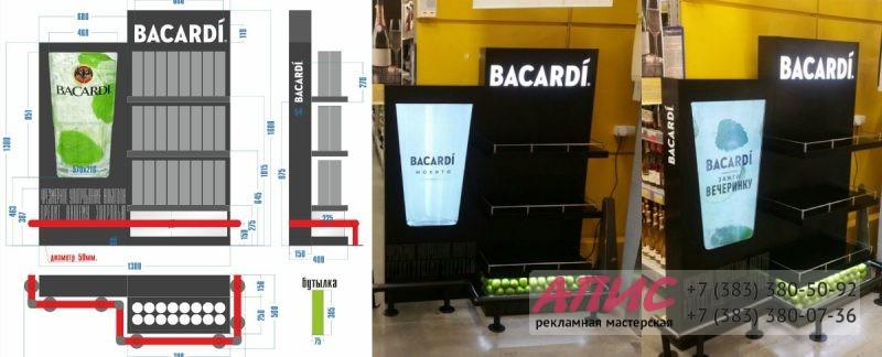 изготовление и монтаж стойки Bacardi