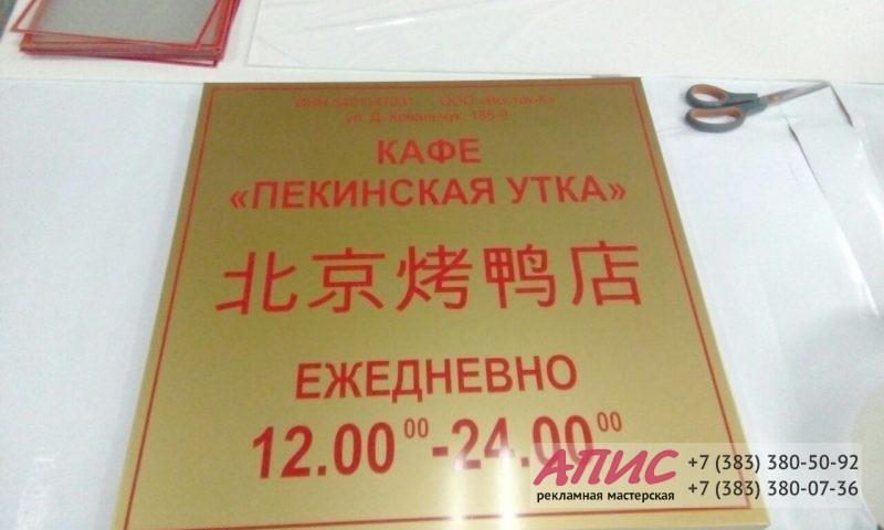 Информацинная табличка для кафе Пекинская утка